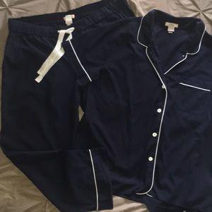 J Crew pajama set size large, navy, cropped pants